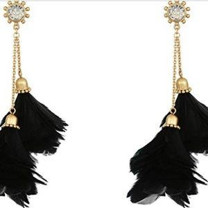 KATE SPADE in Full Feather Earrings in Black